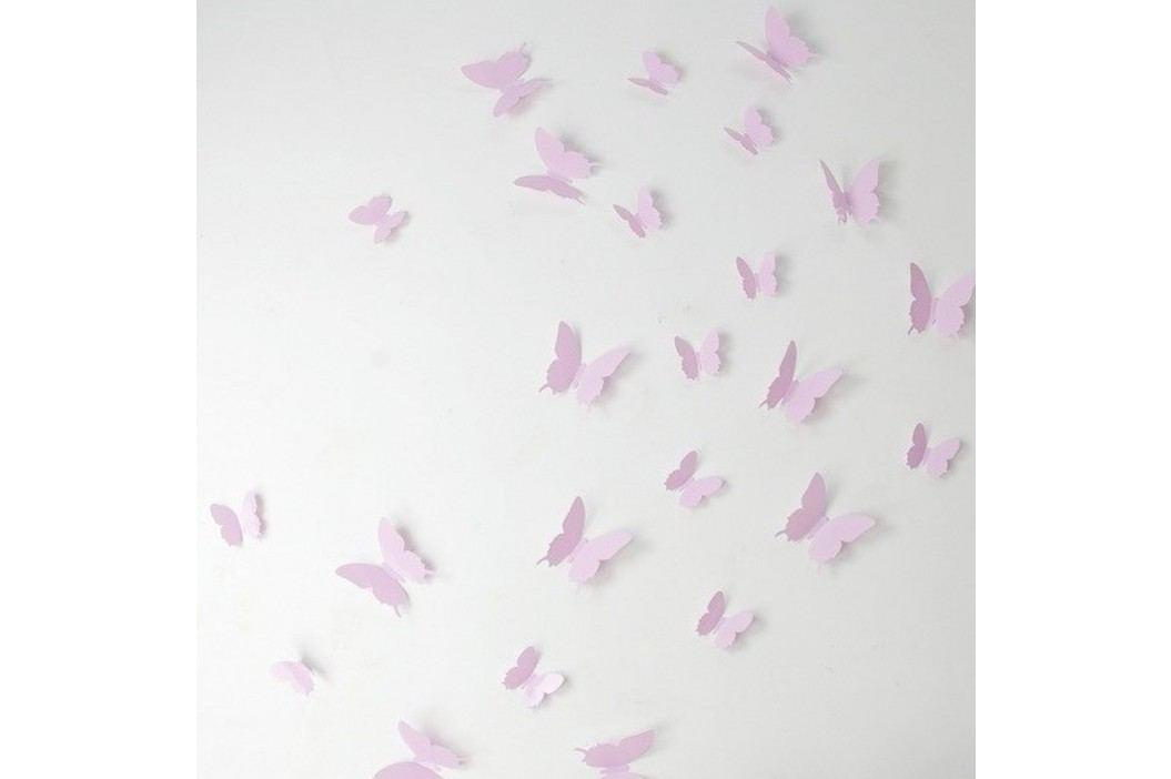 Set 12 autocolante 3D Ambiance Butterflies, roz Tapet și autocolante