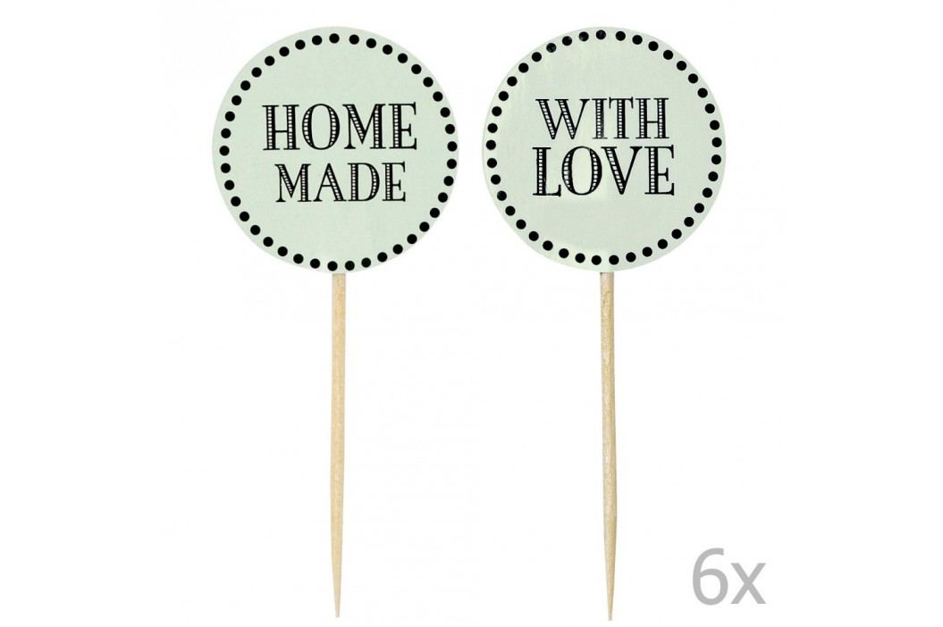 Set 12 decorațiuni pentru tort Miss Étoile Home Made With Love, verde