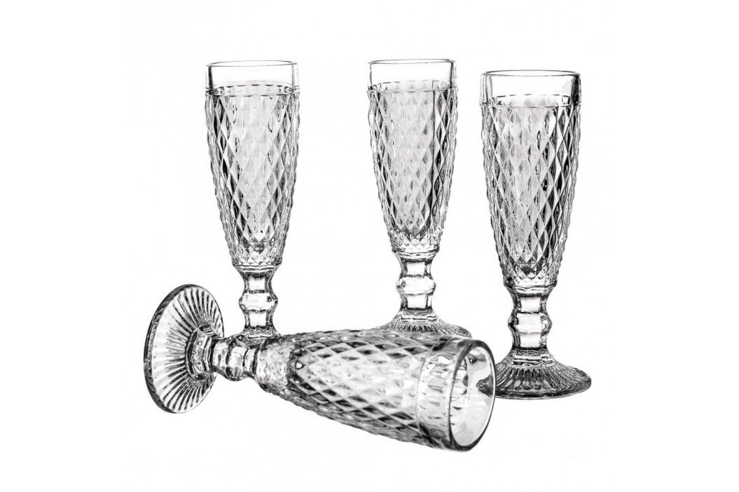 Set 4 pahare șampanie Unimasa Diamond, 130 ml