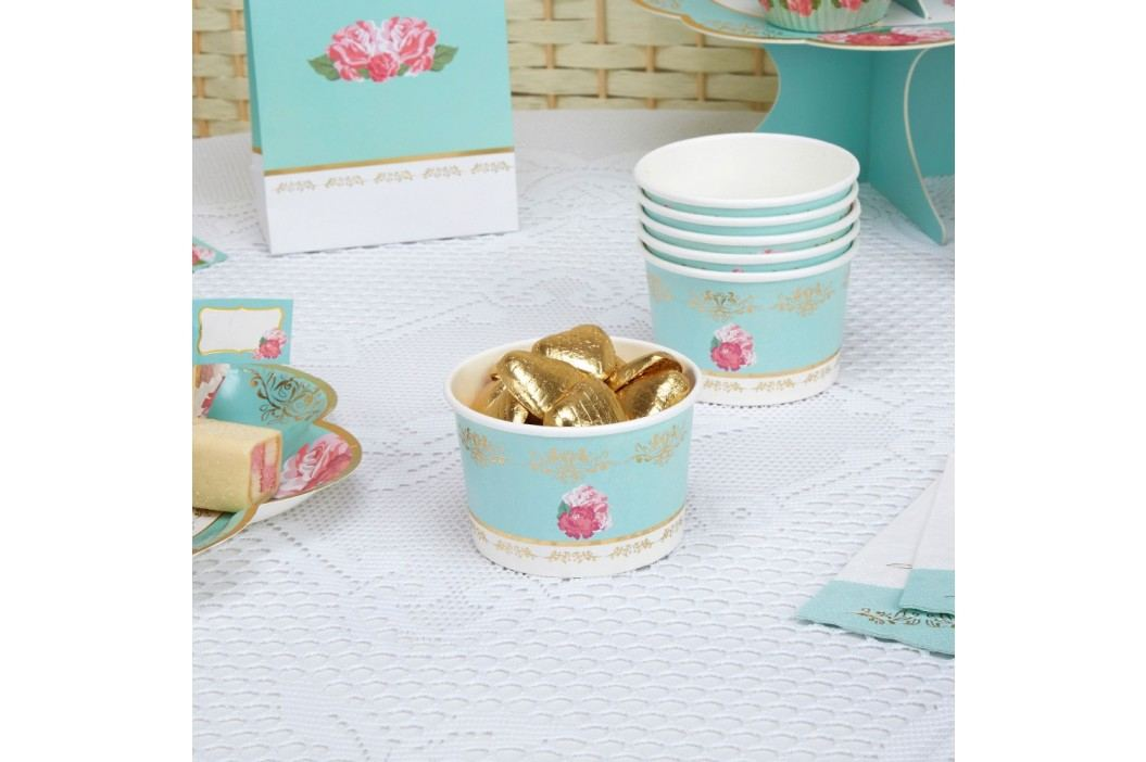 Set 8 cupe din hârtie pentru dulciuri Neviti Eternal Rose Pahare și borcane