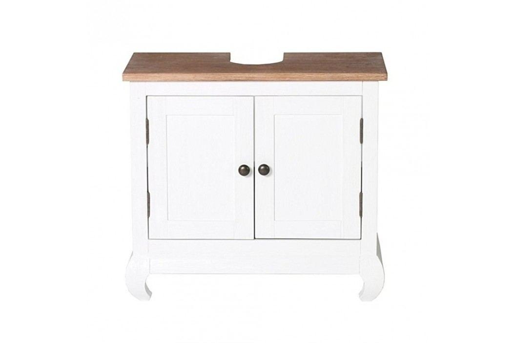 Dulap pentru chiuvetă din lemn de salcâm Woodking Kimberly, alb Dulapuri de baie