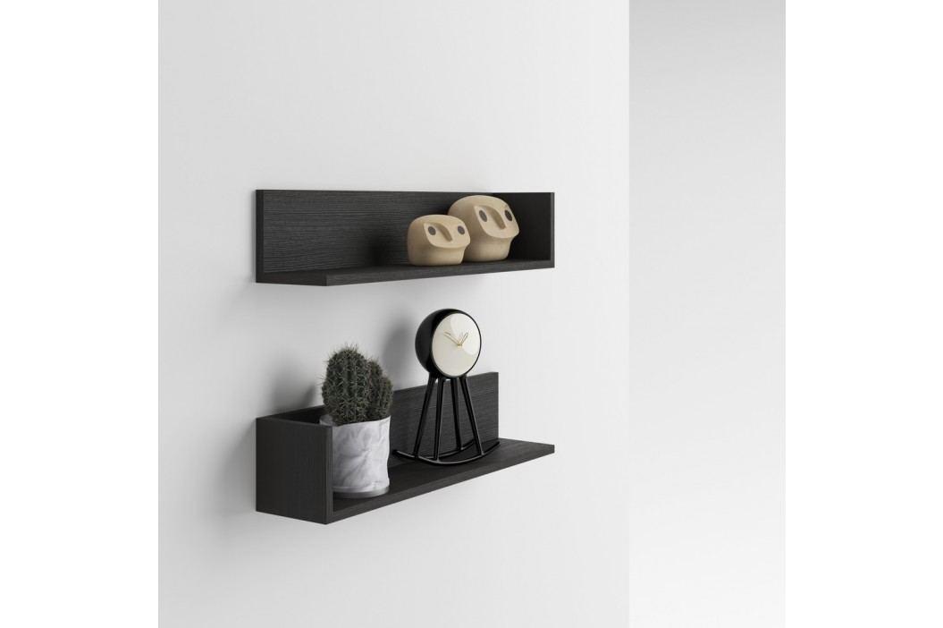 Set 2 rafturi de perete MobiliFiver Menaci, cu aspect de lemn de frasin închis Rafturi