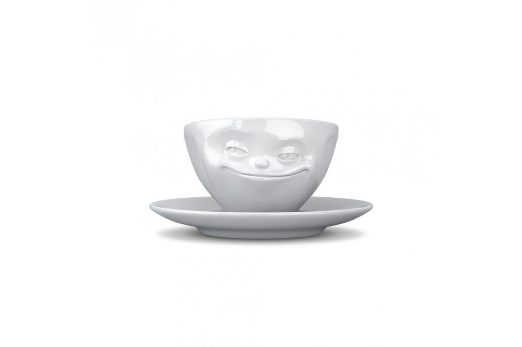 Ceașcă și farfurioară, 58products Zâmbet, alb Căni