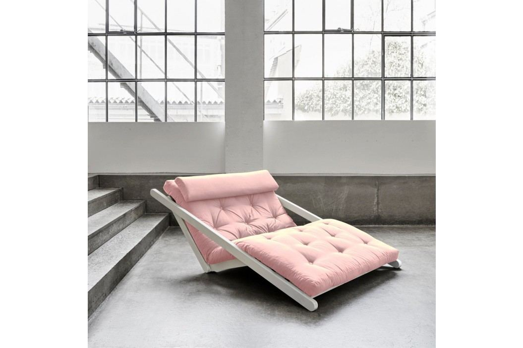 Șezlong extensibil cu 2 locuri Karup Figo White/Pink Peonie Canapele