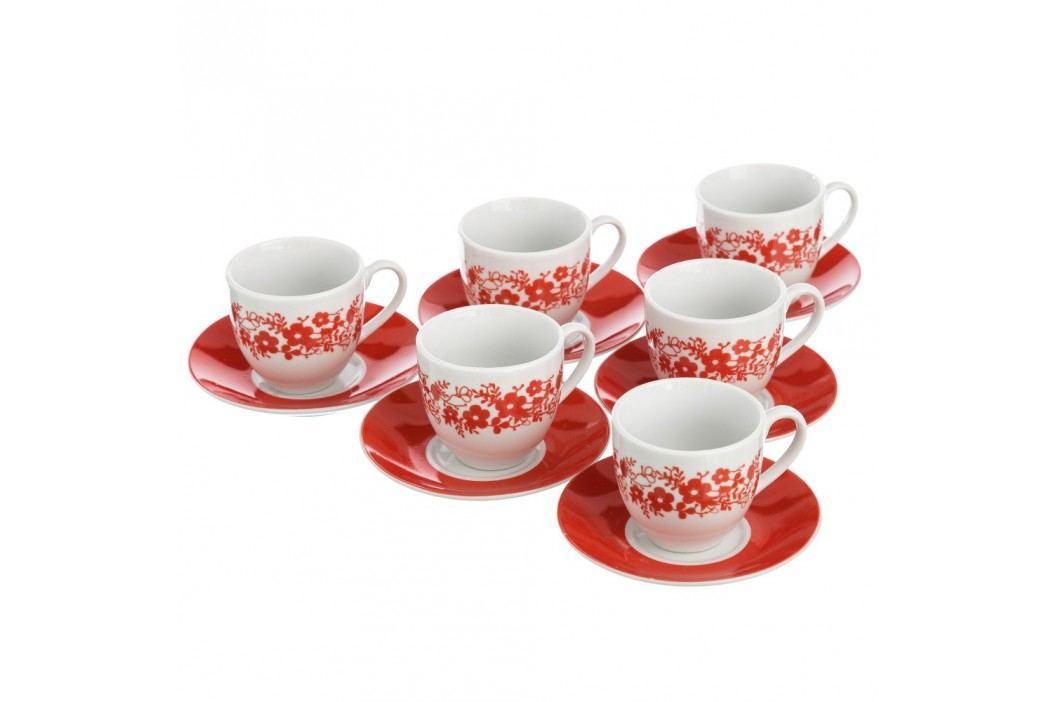 Set 6 cești cu farfurie Unimasa Flowers, 100 ml, alb-roșu Căni