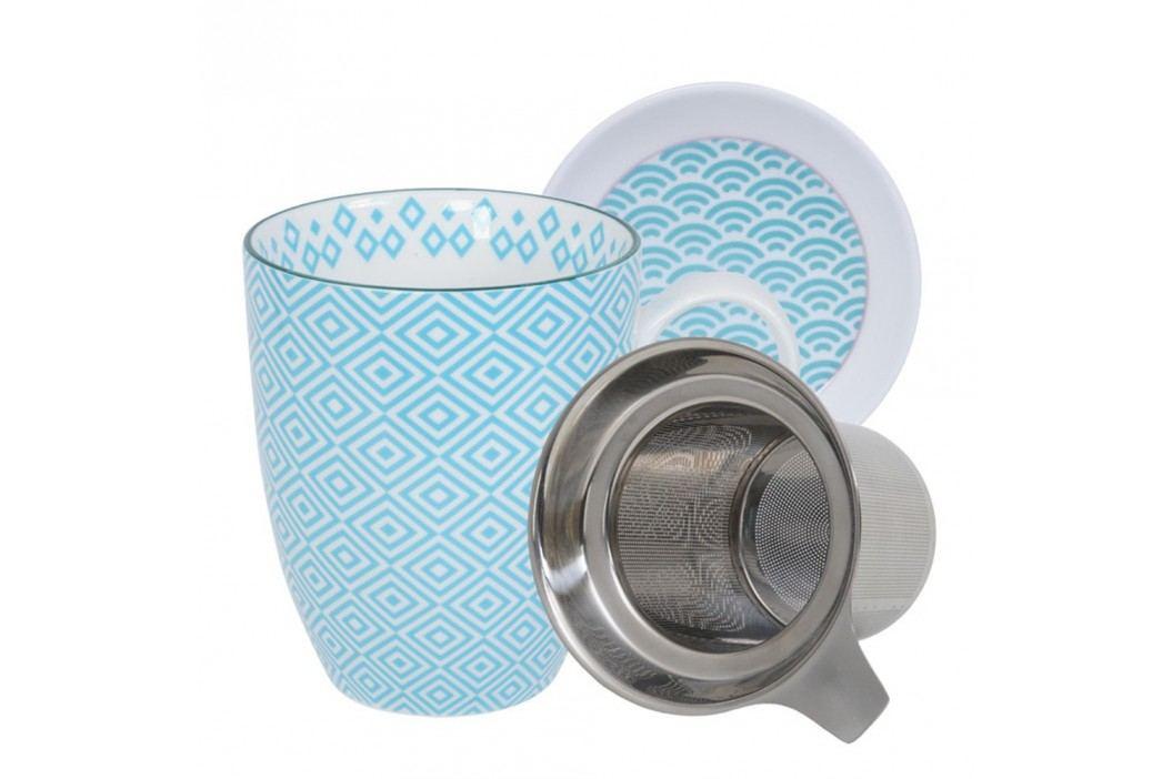 Set pentru ceai cu cană, farfurioară și sită Tokyo Design Studio Geo Eclectic, 380 ml, alb-turcoaz Căni