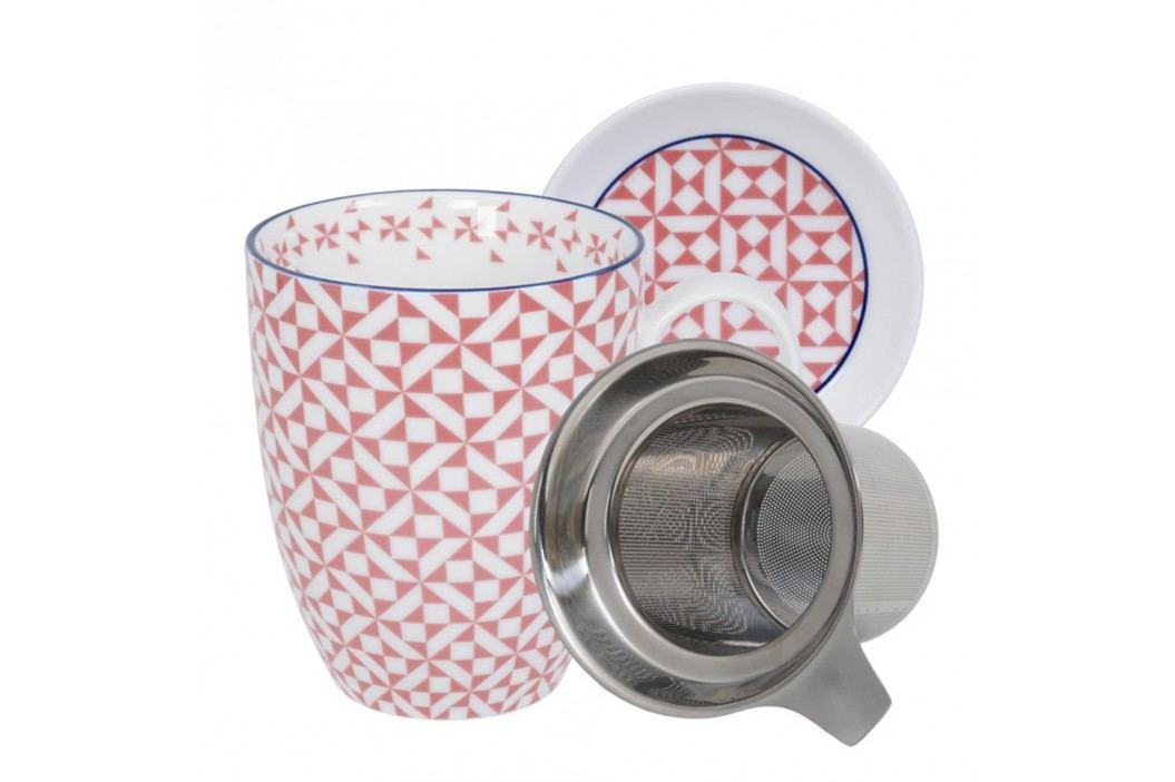Set pentru ceai cu cană, farfurioară și sită Tokyo Design Studio Geo Eclectic, 380 ml, alb-roz Căni