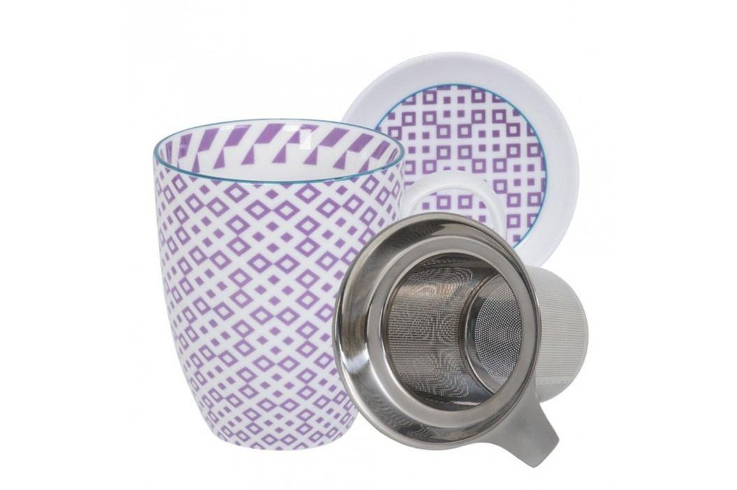 Set pentru ceai cu cană, farfurioară și sită Tokyo Design Studio Geo Eclectic, 380 ml, alb-violet Căni