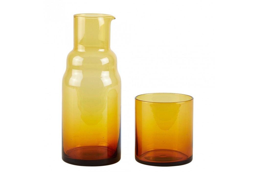 Set sticlă și pahar Villa Collection, auriu Carafe