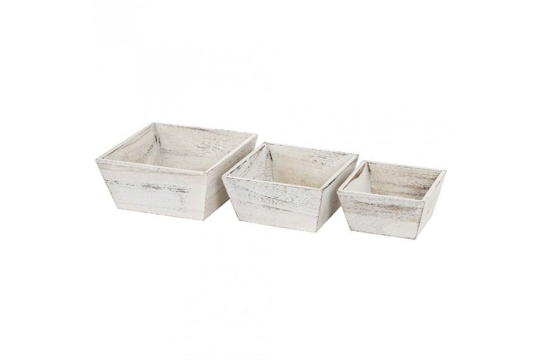 Set 3 boluri din lemn Mendler Shabby Vintage, alb Castroane și boluri
