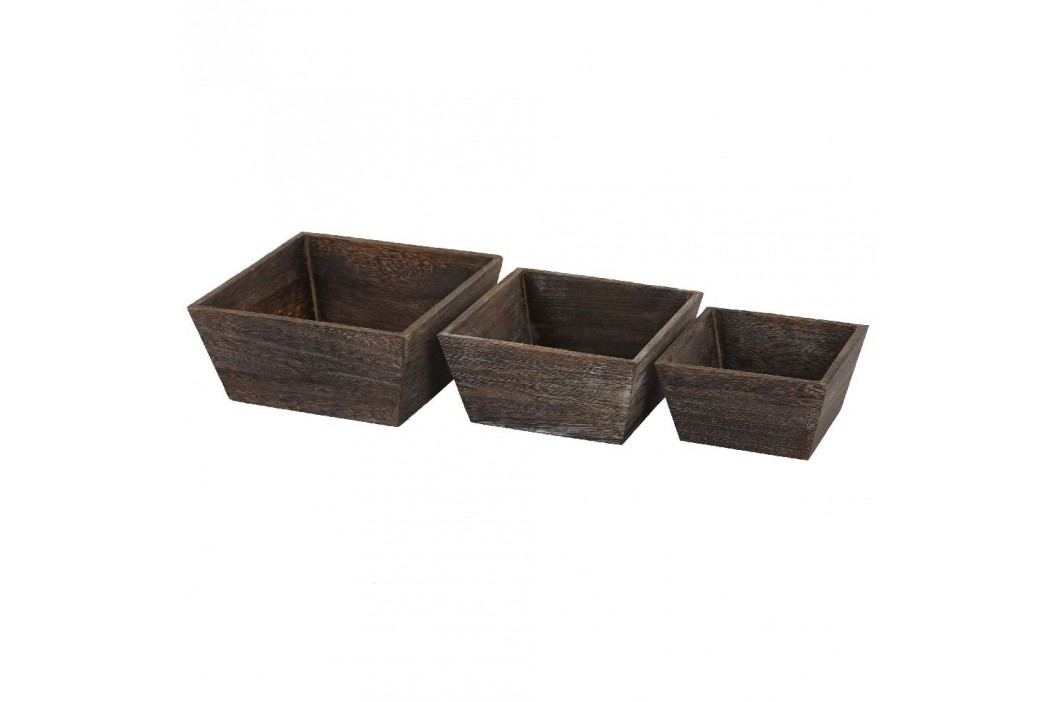 Set 3 boluri din lemn Mendler Shabby Vintage, maro Castroane și boluri