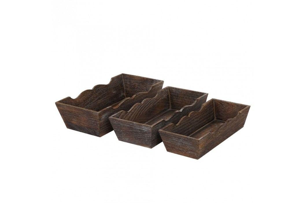 Set 3 boluri din lemn Mendler Shabby, maro Castroane și boluri