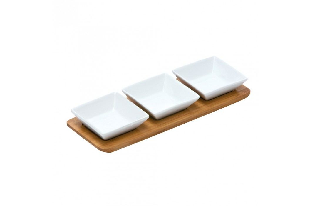 Set 3 boluri servire și tavă de bambus Premier Housewares Snacks Castroane și boluri