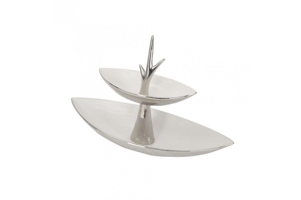 Bol cu 2 etaje Mauro Ferretti Argento, ceramică, alb-argintiu Castroane și boluri