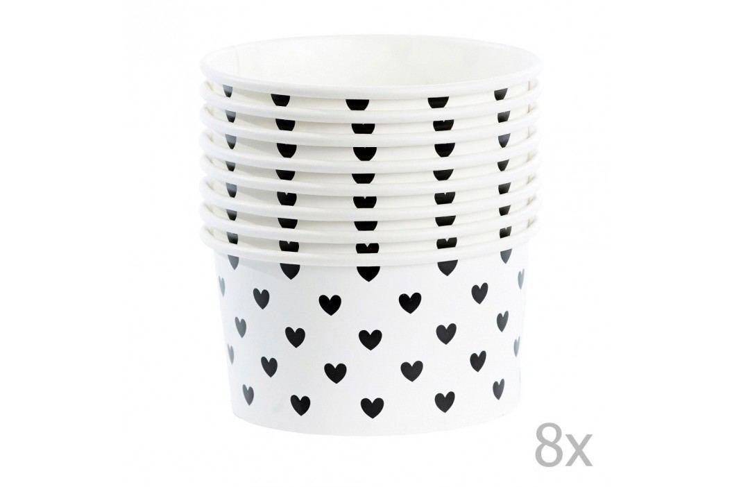 Set 8 cupe hârtie pentru înghețată cu lingurițe Miss Étoile Black Hearts Castroane și boluri