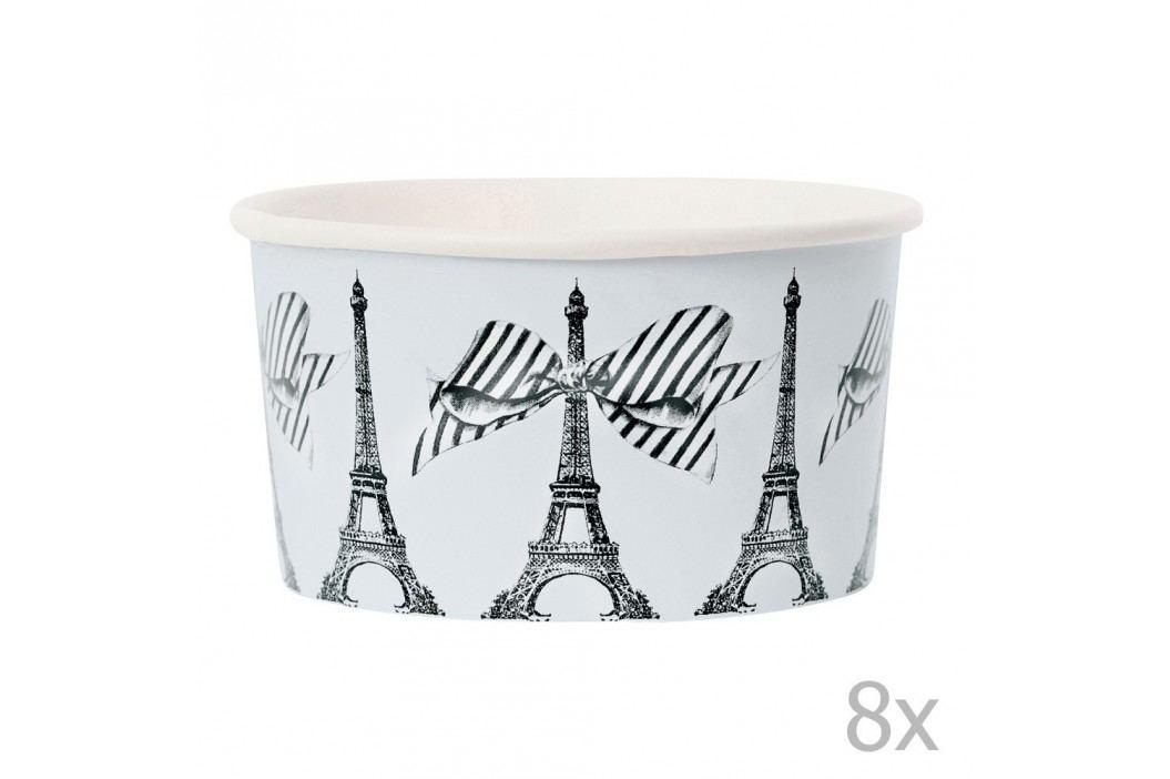 Set 8 cupe hârtie pentru înghețată cu lingurițe Miss Étoile Paris Castroane și boluri