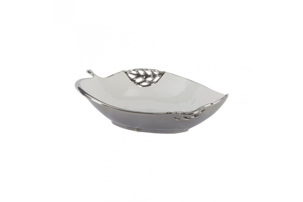 Bol decorativ din ceramică Mauro Ferretti Apple Grande, alb-argintiu Castroane și boluri