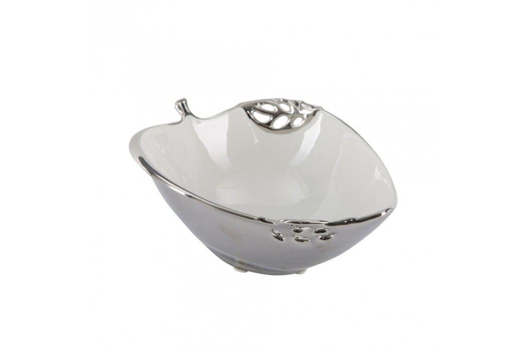 Bol decorativ din ceramică Mauro Ferretti Apple, alb-argintiu Castroane și boluri