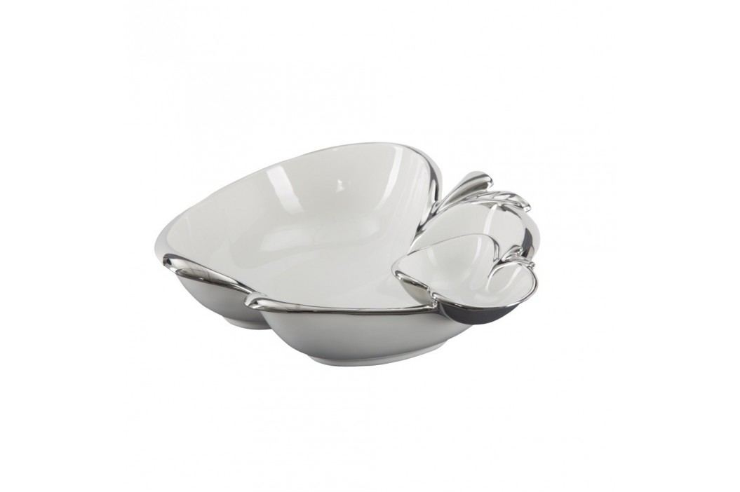 Bol decorativ din ceramică Mauro Ferretti Double Apple, alb-argintiu Castroane și boluri