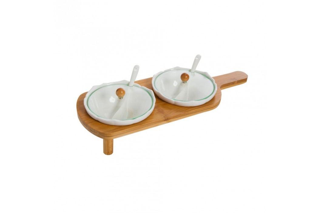 Set platou și 2 recipiente pentru mirodenii Bambum Polito Castroane și boluri