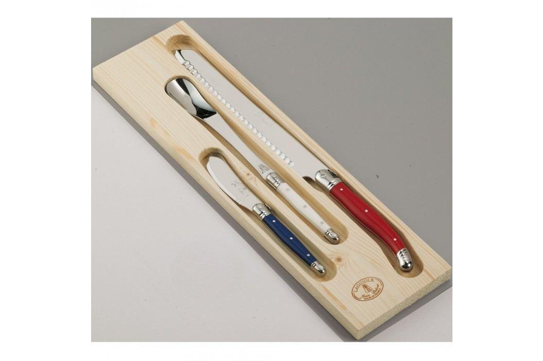 Set 3 cuțite pentru pâine și marmeladă, în cutie de lemn, Jean Dubost Paris Cuțite