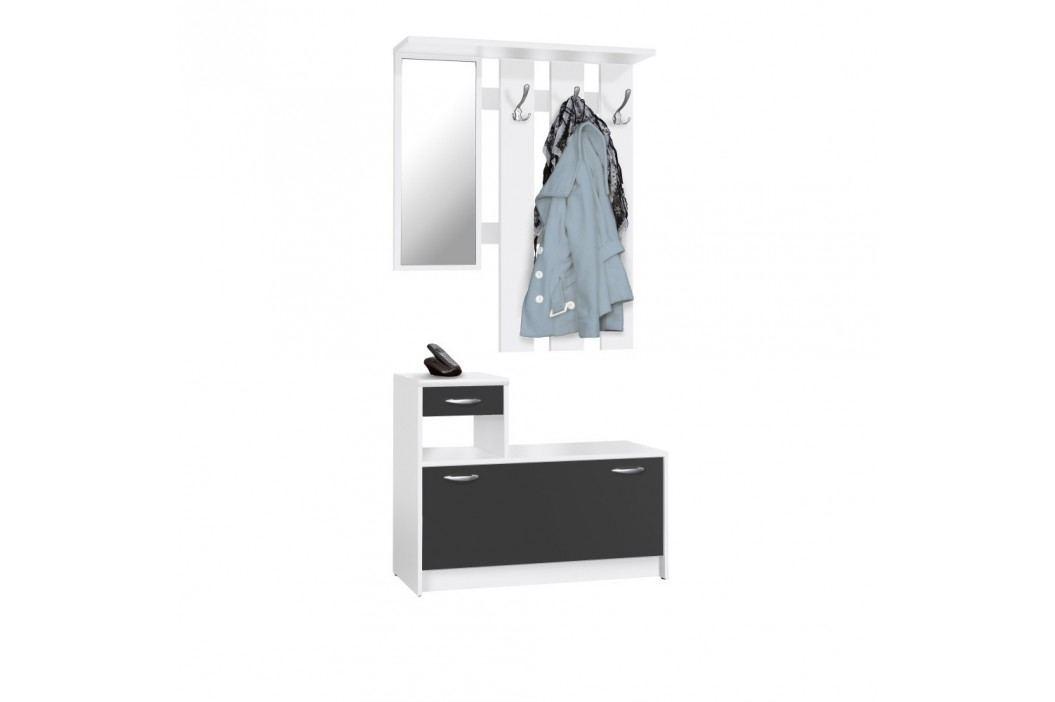 Mobilier pentru perete hol Intertrade Rudolf, alb - negru Agățătoare, cârlige și suporturi