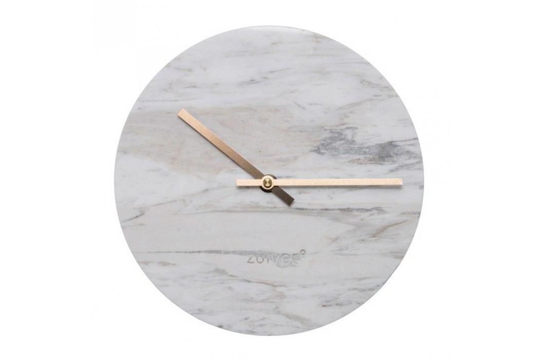 Ceas de perete din marmură Zuiver Marble Time, alb Ceasuri și alarme