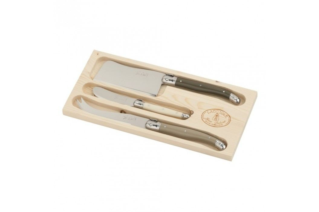 Set 3 tacâmuri pentru brânzeturi, în cutie de lemn, Jean Dubost Linen Mix Cuțite