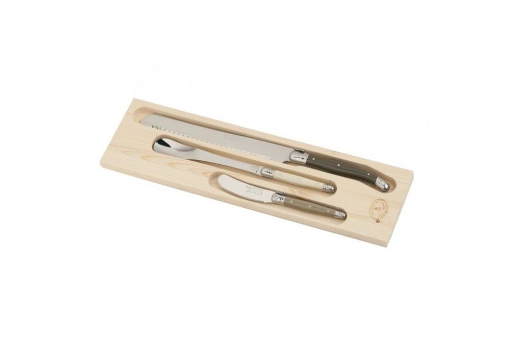 Set 3 tacâmuri pentru mic dejun, în cutie de lemn, Jean Dubost Linen Mix Cuțite