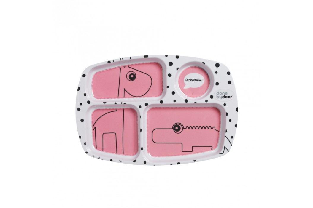 Farfurie compartimentată pentru copii Done by Deer Happy Dots, roz Farfurii