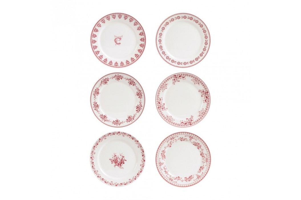 Set 6 farfurii desert Comptoir de Famille Faustine, 20 cm, roșu - alb Farfurii