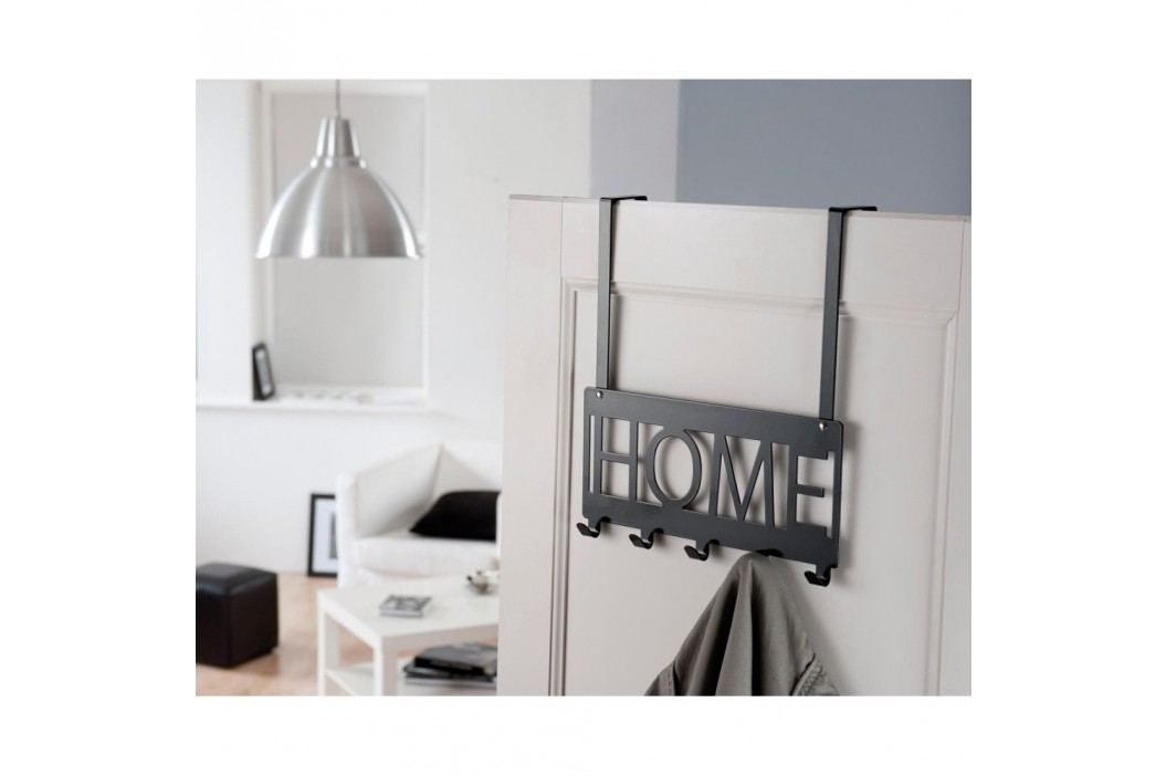 Cuier pentru uşă Compactor Home, 5 cârlige, negru Accesoriii pentru baie