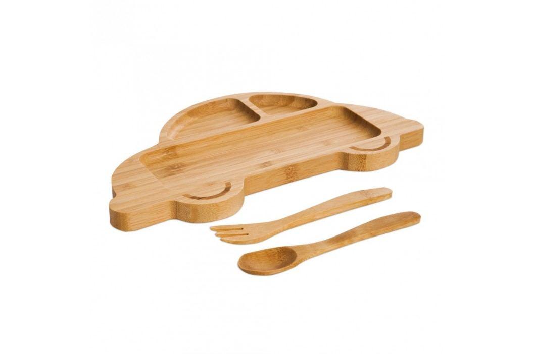 Set pentru copii cu platou și tacâmuri din lemn Bambum Auto Farfurii