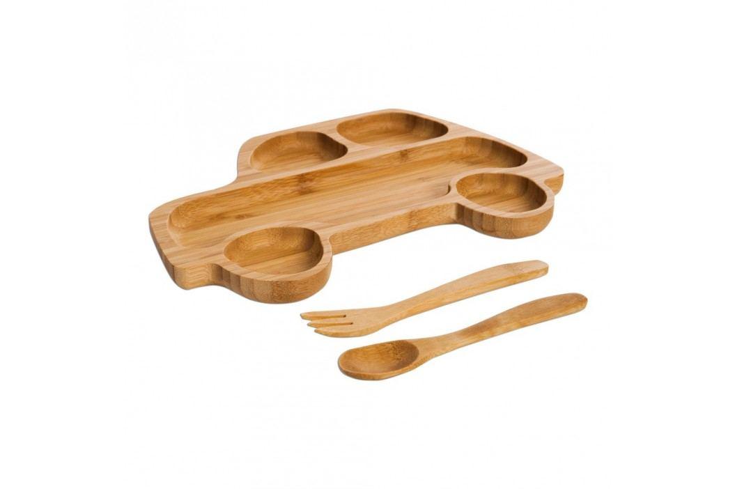 Set pentru copii cu platou și tacâmuri din lemn Bambum Truck Farfurii