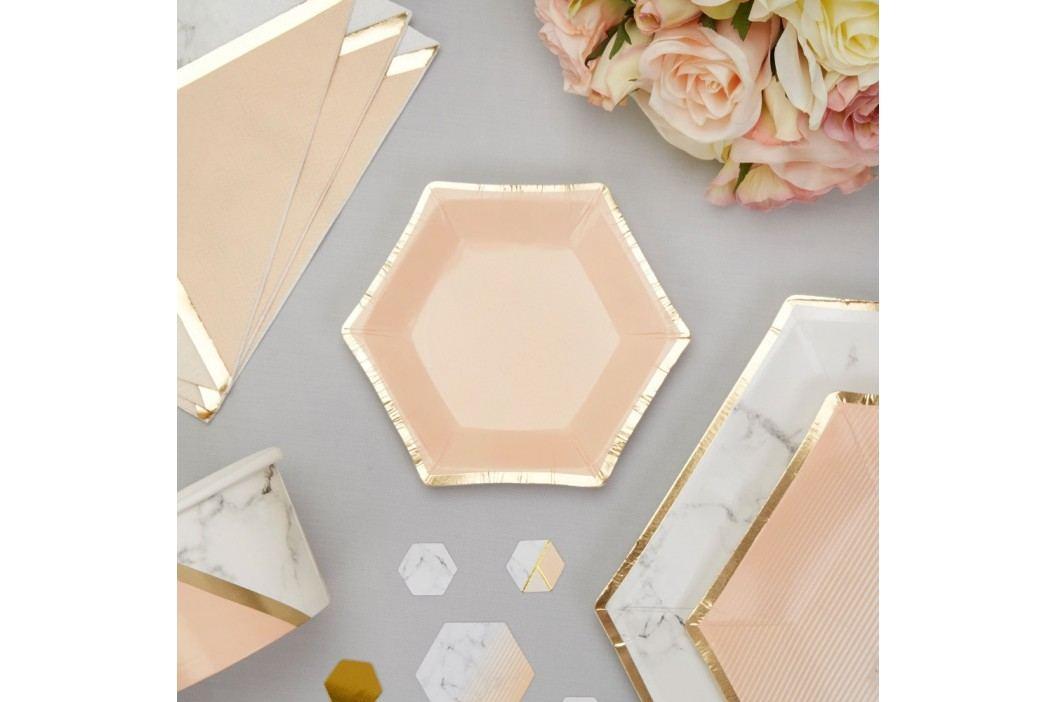 Set 8 farfurii din hârtie Neviti Gold Colour Block Marble, 12,5 cm Farfurii