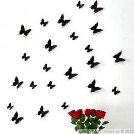 Set 12 autocolante 3D Ambiance Black Butterflies, negru