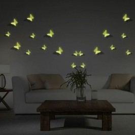 Set 12 autocolante fosforescente 3D Ambiance Butterflies