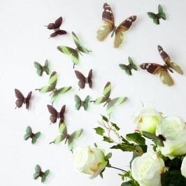 Set 18 autocolante 3D Ambiance Butterflies, verde