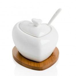 Zaharniță din porțelan cu linguriță și suport din bambus Brandani Heart