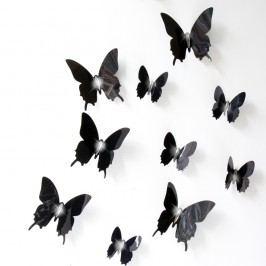 Set 12 autocolante cu efect 3D Fanastick Wall Butterflies, negru