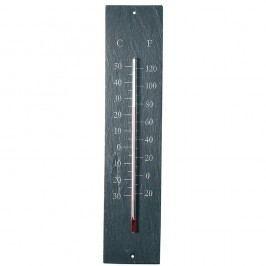 Termometru pentru exterior, din ardezie Esschert Design Plain, 45 x 10 cm