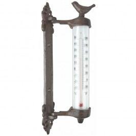 Termometru cu păsări din fontă Esschert Design Dekor Bird, înlălțime 27,3 cm