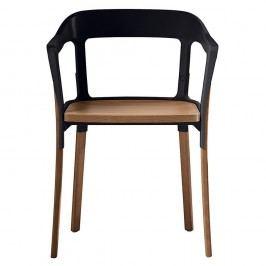 Scaun cu picioare din lemn de fag Magis Steelwood, negru