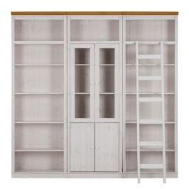 Bibliotecă din lemn de pin cu detalii maro Støraa Annabelle Dee, alb