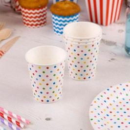 Set 8 pahare din hârtie Neviti Carnival Dots