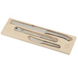 Set 3 cuțite din inox pentru mic dejun, în cutie de lemn, Jean Dubost