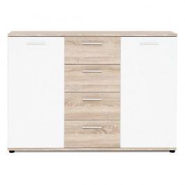 Comodă cu 2 uși, 4 sertare și detalii cu aspect de lemn Intertrade Jacky, alb
