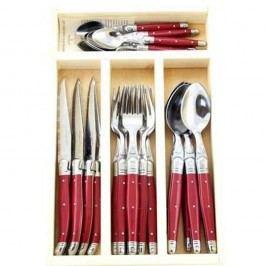 Set 24 tacâmuri, în cutie de lemn, Jean Dubost Flora, roșu