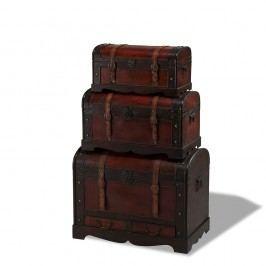 Set 3 cutii din lemn decorative Knuds Trunks Rustic
