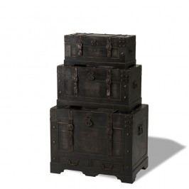 Set 3 cutii din lemn decorative Knuds Trunks Straight